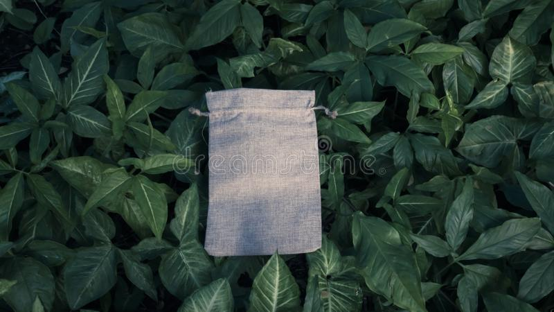 Blank Mockup Linen Cotton Tote Bag on Green Bush Trees Foliage Background. Eco Nature Friendly Style. Environmental Conservation stock photo