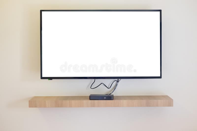 Blank modern flat screen TV stock image