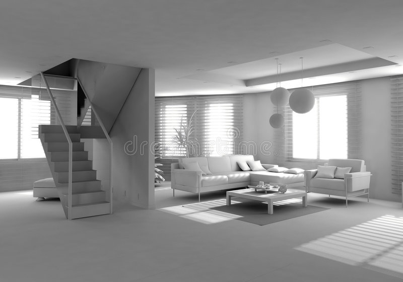 Blank modern interior. Of the privat apartment (3d royalty free illustration