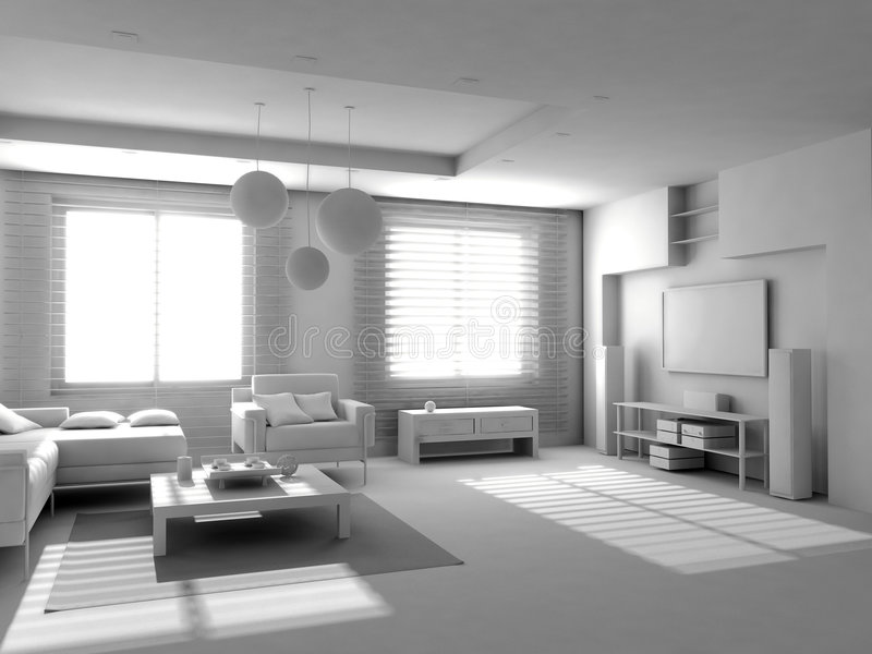 Blank modern interior. Of the privat apartment (3d stock illustration