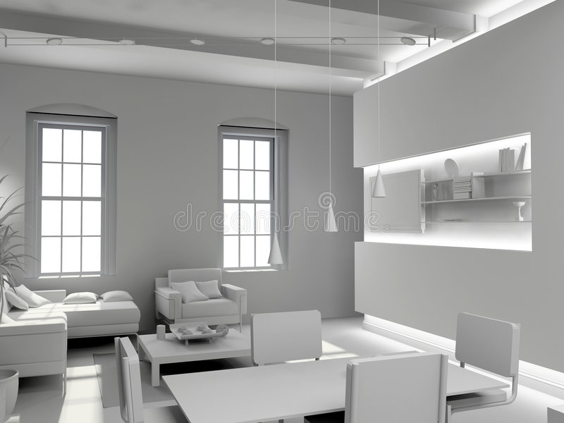 Blank modern interior. Design (computer generated image 3D vector illustration