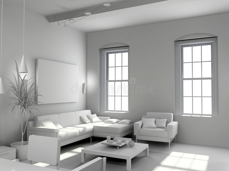 Blank modern interior. Design (computer generated image 3D royalty free illustration