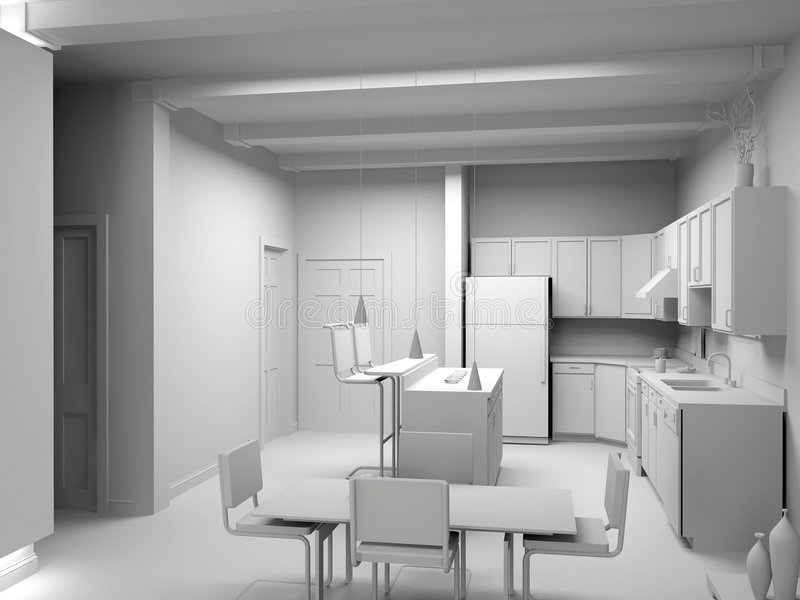 Blank modern kitchen. Interior design (computer generated image 3D royalty free illustration
