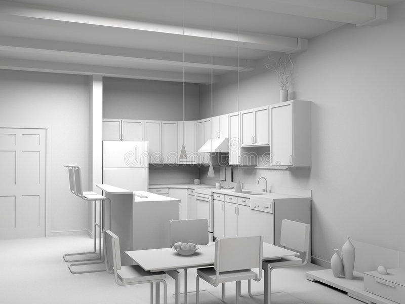 Blank modern kitchen interior. Design (computer generated image 3D stock illustration