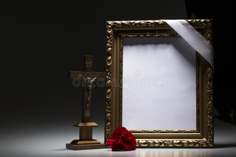 Blank Mourning Frame For Condolence Card Stock Image - Image of ...