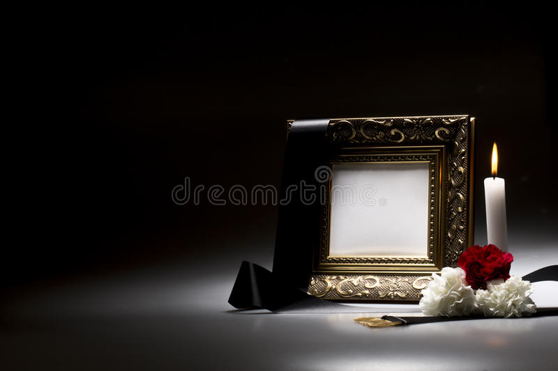 Blank mourning frame for sympathy card. For sympathy card blank mourning frame royalty free stock image