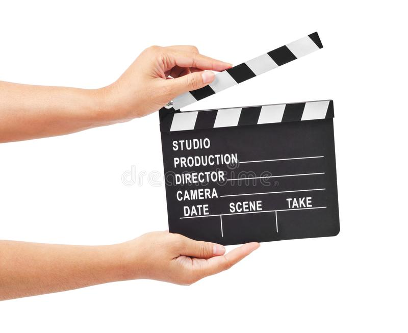 Blank movie production clapper board or slate film in hand. stock images