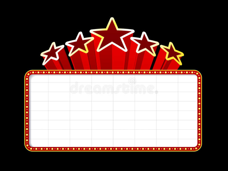 Blank movie, theater or casino marquee stock illustration