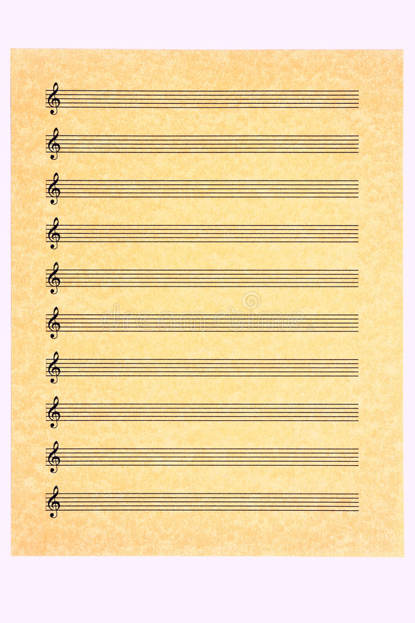 Blank Music SheetTreble Clef Stock Image  Image Of Golden