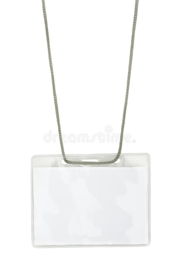Blank name badge on lanyard stock images