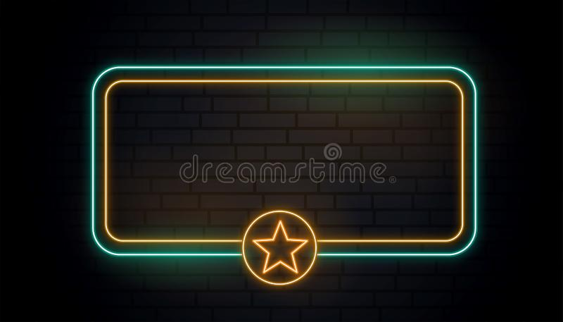 Blank neon light star banner vector illustration