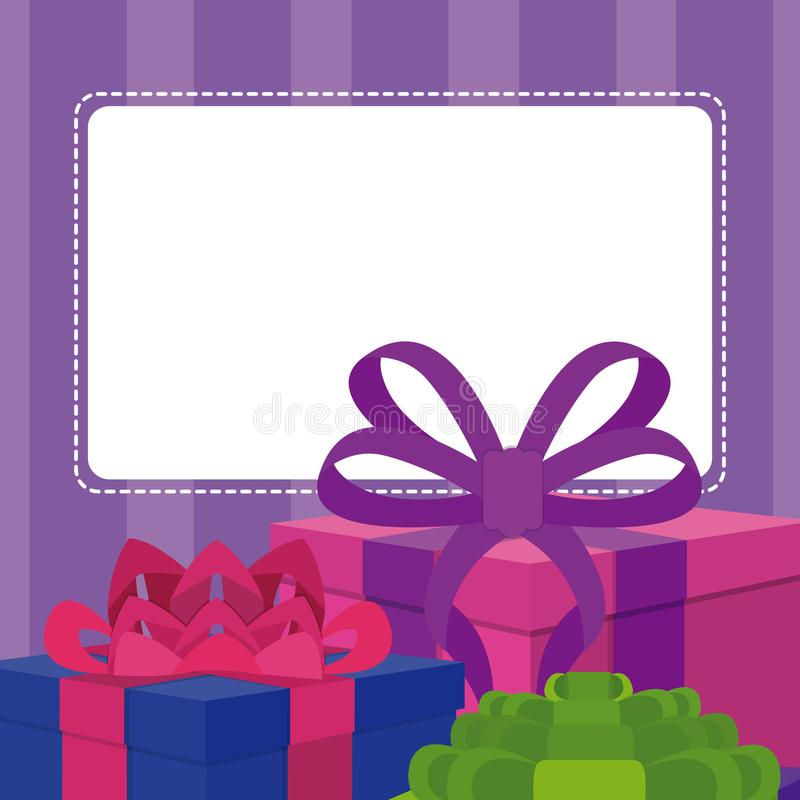blank note card with gift boxes stock vector