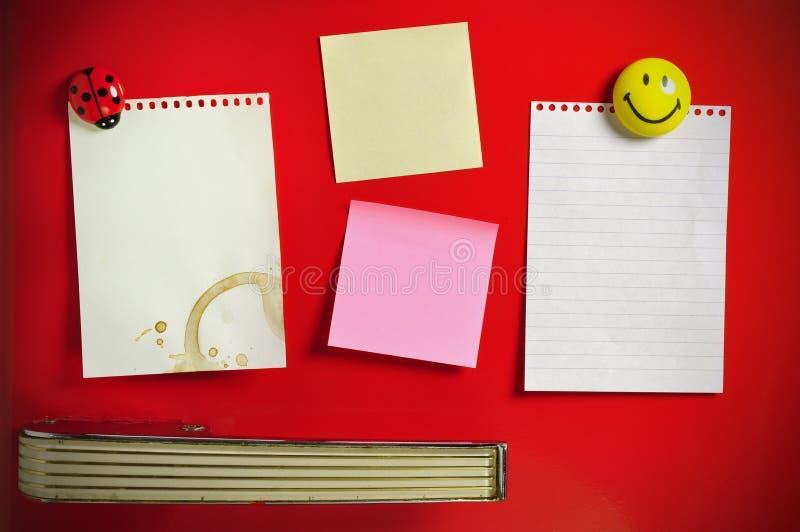 Blank note on fifties fridge door stock photo