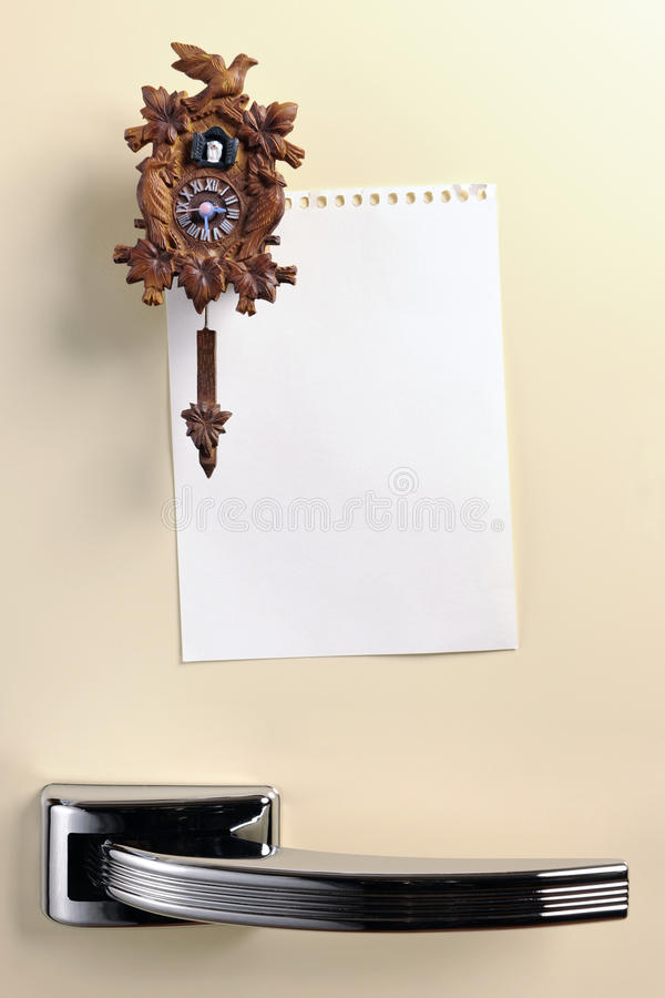 Blank note on fifties fridge door royalty free stock photography