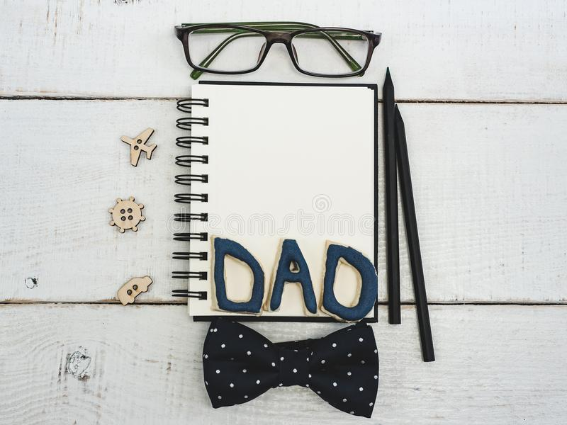 Blank note pad for father`s congratulations stock photography