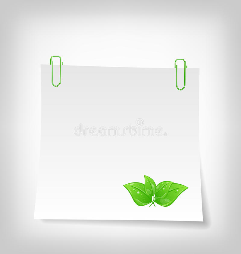 Blank note paper with green leaves royalty free illustration