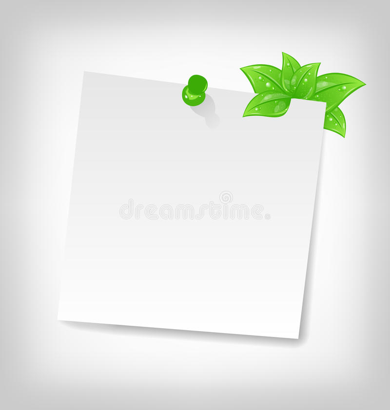 Blank note paper with green leaves stock illustration
