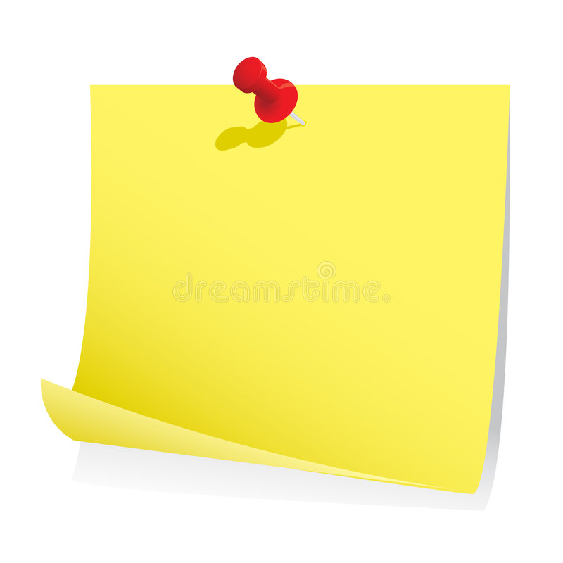 Blank Note Paper With Pin Stock Photo
