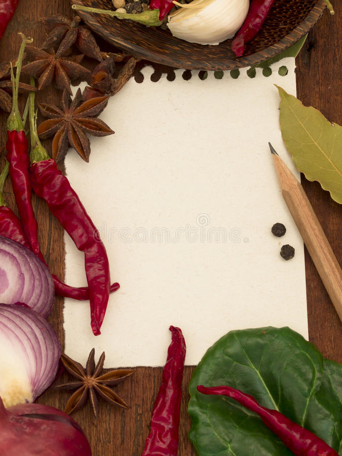 Download Blank note for recipe stock image. Image of garlic, element - 23542907