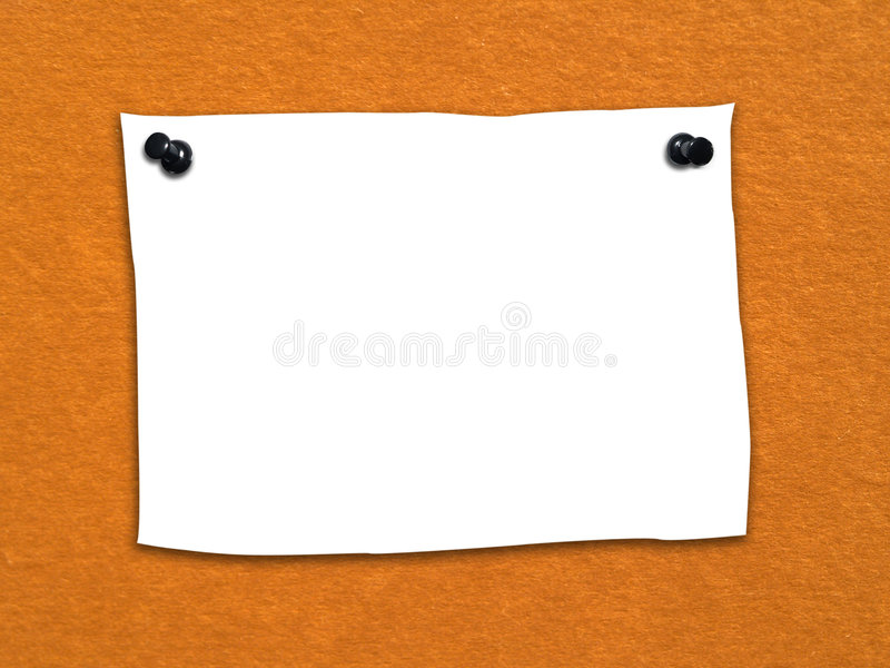 Blank note2. Blank paper note pinned to the textured surface stock photos
