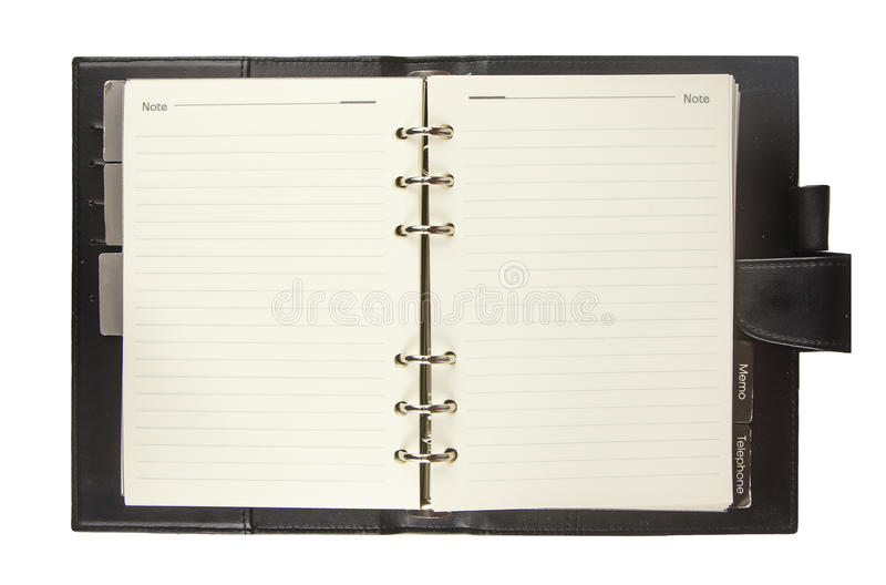 Blank notebook with black cover isolated on white stock photos