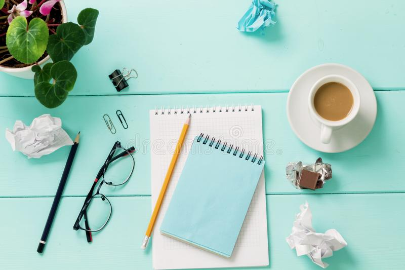 Blank notebook with flower, Top view royalty free stock photos