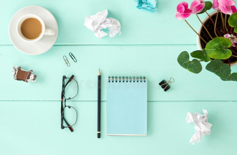Blank notebook with flower, Top view stock photos