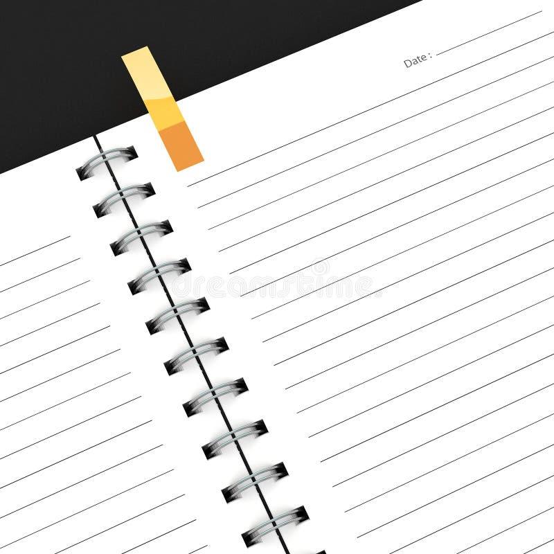Blank notebook isolated. On dark background stock illustration
