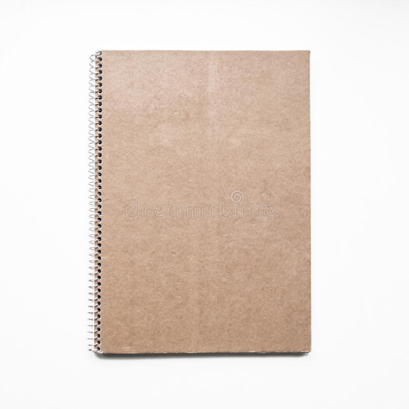 Blank notebook with kraft cardboard cover and spiral, mockup royalty free stock image