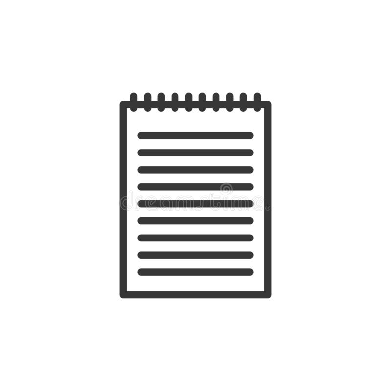 Blank notebook with lines for writing and spiral binding. Vector stock illustration