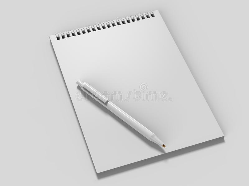 Blank Notebook Mock up. 3d render illustration. stock illustration