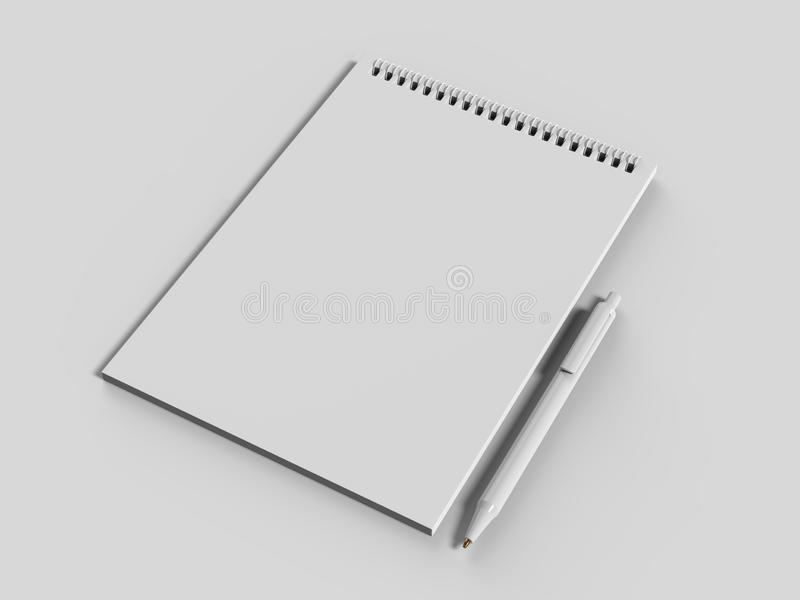 Blank Notebook Mock up. 3d render illustration. royalty free illustration
