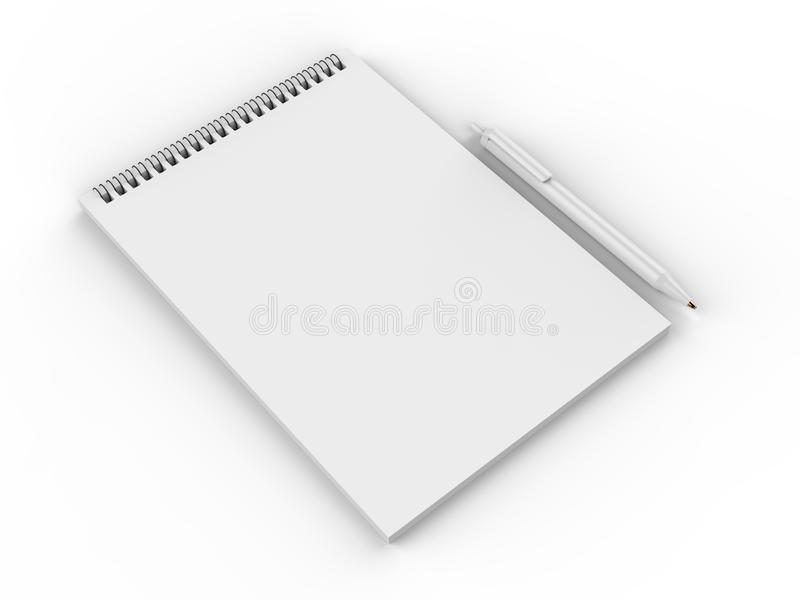 Blank Notebook Mock up. 3d render illustration. vector illustration