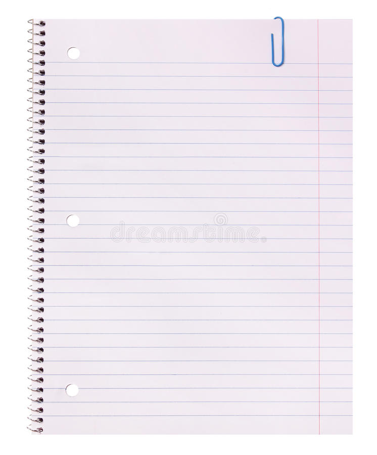 Blank Notebook Paper And Paper Clip Isolated On White Background