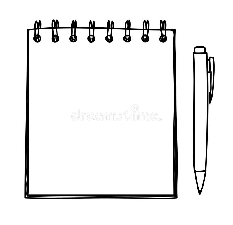 Blank notebook and pen vector handdrawn line art illustration vector illustration