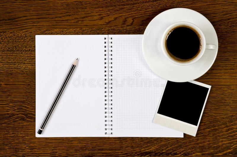 Download Blank Notebook With Photo Frame And Coffee Cup Stock Photo - Image: 22046264