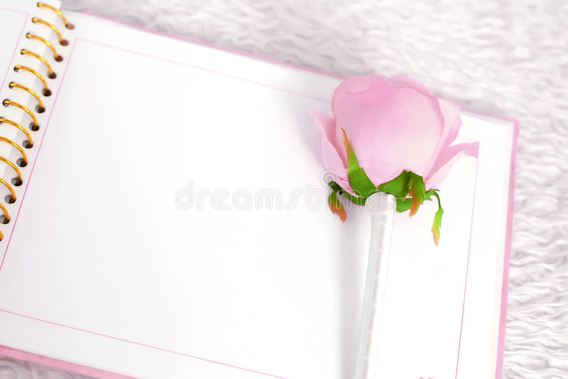 Download Blank Notebook And Rose On A White Carpet Stock Image - Image of design, background: 64515873