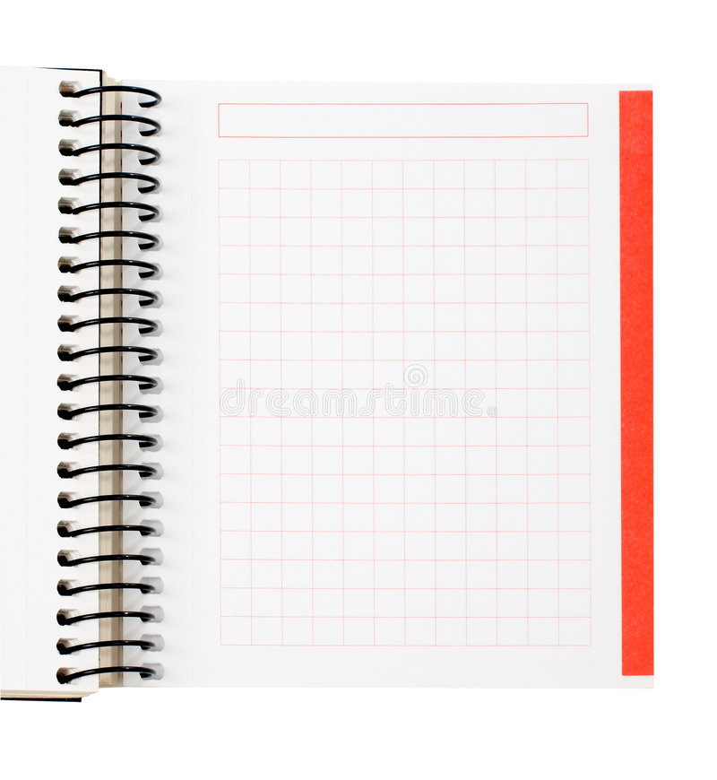 Blank notebook sheet stock photography