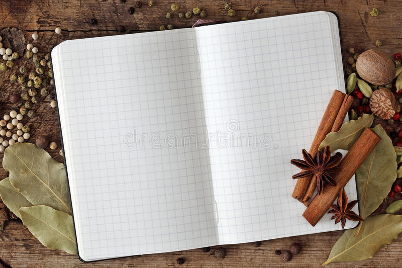 Blank notebook with spices stock photo