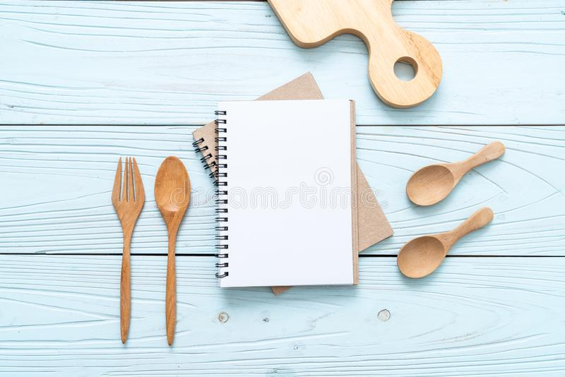 blank notebook for text note on wooden surface with copy sapce royalty free stock photos