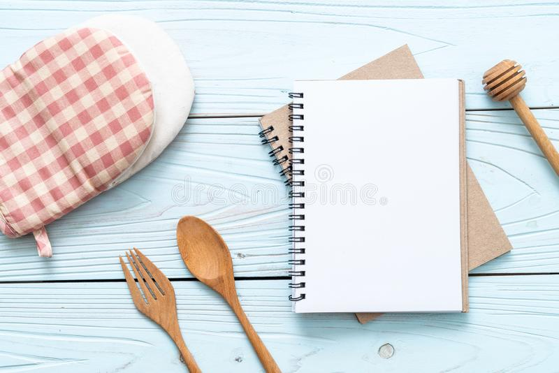 blank notebook for text note on wooden surface with copy sapce stock images
