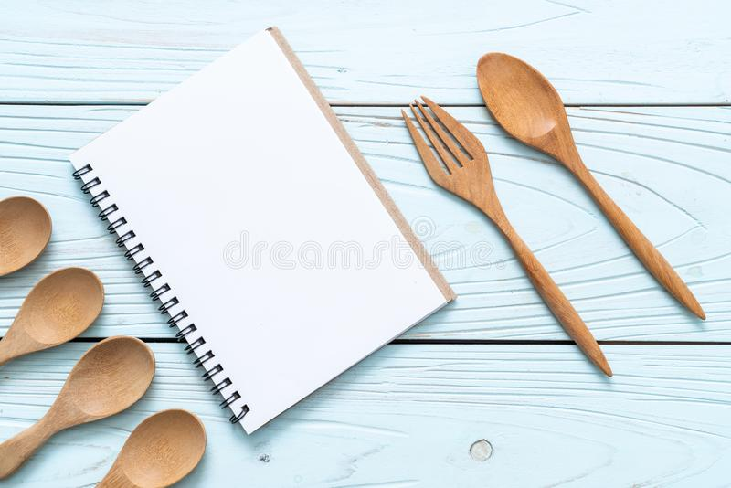 blank notebook for text note on wooden surface with copy sapce stock photos