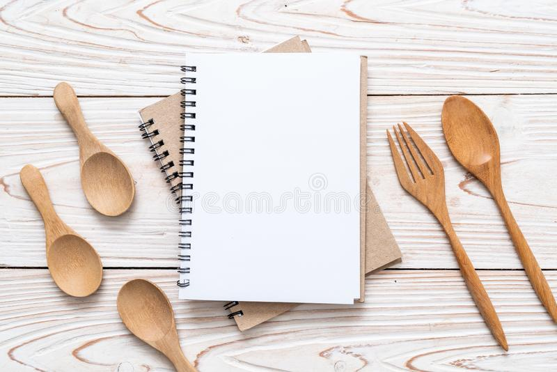 blank notebook for text note on wooden surface with copy sapce stock photography