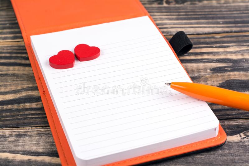 Blank notebook with heart stock images