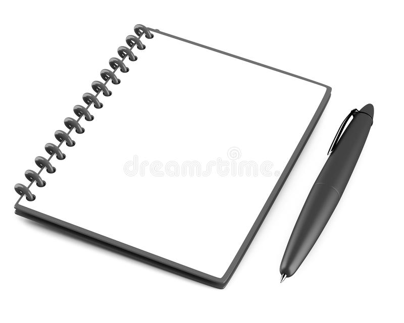 Blank notepad with black pen royalty free illustration