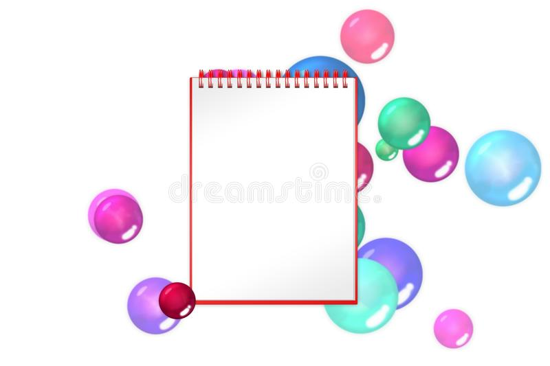 Blank notepad with crimson balls and bubbles on background stock illustration