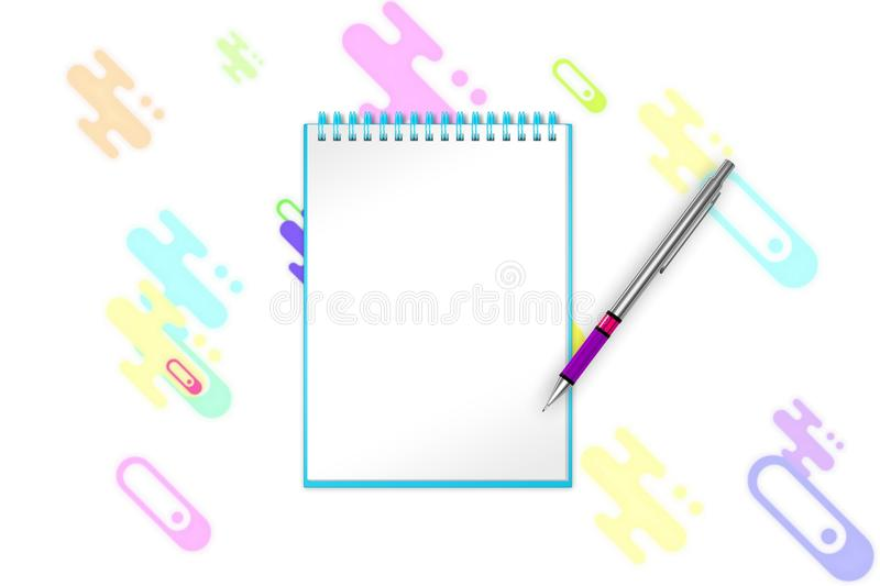 Blank notepad with lime green dots and forms on background for celebration ideas. 3d illustration royalty free illustration