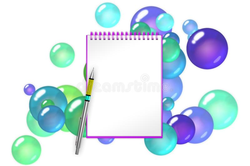 Blank notepad with lime spheres and balls background royalty free illustration