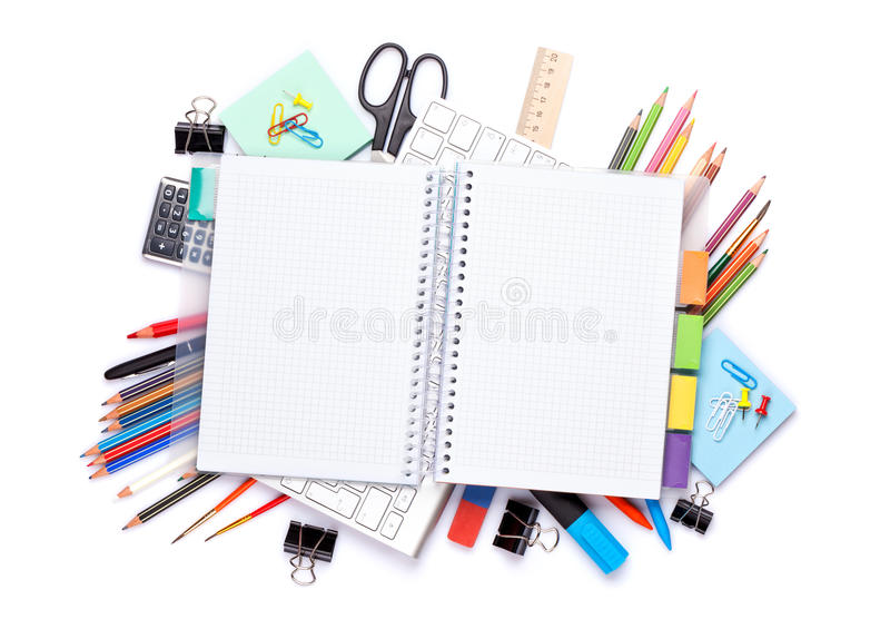 Blank notepad over school and office supplies on office table royalty free stock images