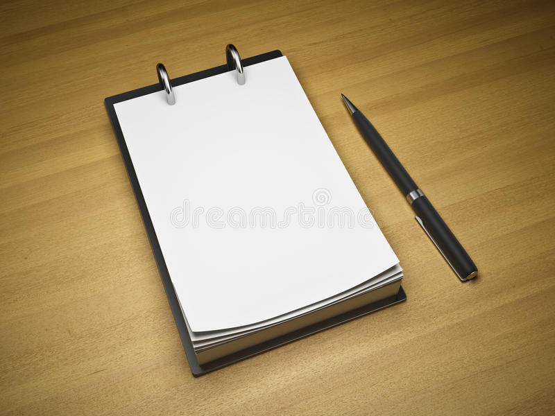 Blank notepad with pen. On wooden background stock illustration